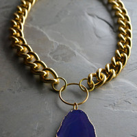 Gold Chunky Chain Necklace with Purple Agate by MarcieRoxx on Etsy