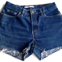 High Waisted Denim Shorts Size 5/6 Vintage Plain Basic Tommy Hilfiger Hipster Tumblr