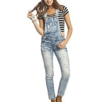 Blue Spice Destroyed Overalls | Wet Seal