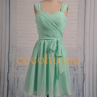 New Short Mint Chiffon Bridesmaid Dresses Simple Cheap Dresses Hot Prom Dresses Homecoming Dresses Evening Dresses Wedding Party Dresses