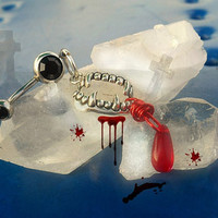 Vampire Blood Belly Button Ring, Inspired by the Vampire Diaries, Goth, Gothic, Punk, Trendy, Ready to Ship