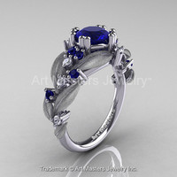 Nature Classic 14K White Gold 1.0 Ct Royal Blue Sapphire Diamond Leaf and Vine Engagement Ring R340S-14KWGDBS