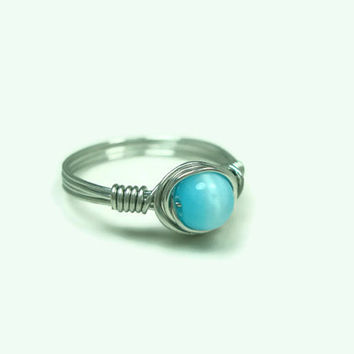 Wire Wrap Ring, Tiffany Blue, Size 8.5