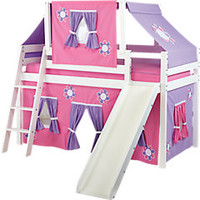 Pink Cottage White Loft Bed w Slide and Tent