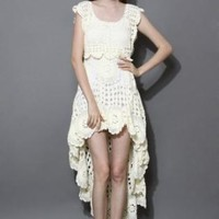Cream symmetric cream dress