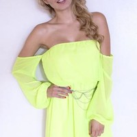 Off The Shoulder Chiffon Dress - Neon Yellow
