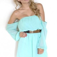 Off The Shoulder Chiffon Dress - Mint