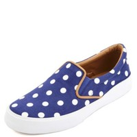 Polka Dot Canvas Slip-On Sneakers by Charlotte Russe - Navy Combo