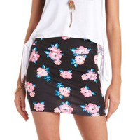 Floral Print Bodycon Mini Skirt by Charlotte Russe - Black Combo
