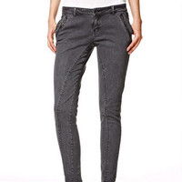 Quinn Seamed Twill Pants in Pirate Black - Dark Grey