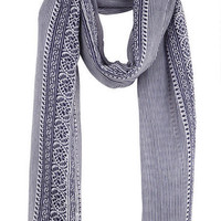 Stripe Embroidered Oblong Scarf - Multi