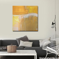 "Large Abstract Acrylic Painting Original Fine Art 36""x36"" by Linnea Heide - gold grey neutral - gold drip"