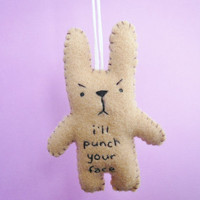 Funny ornaments I'll punch your face funny bunny by TheOffbeatBear