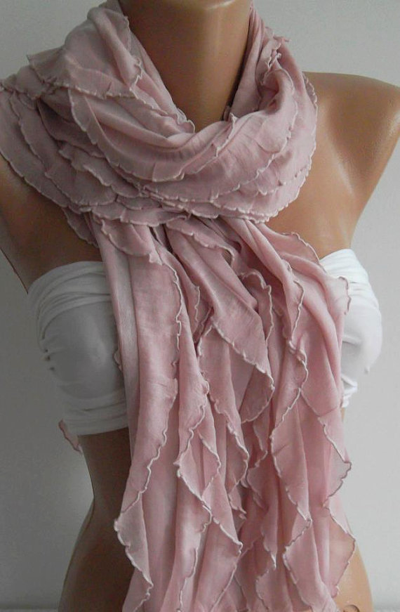 Powder Pink Elegance Shawl / Scarf by womann on Etsy