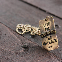 Adventurous Natural Brass Dog Tag on Brass Ball Chain with Brass Wire and Brass Jump Ring by Rustic Brand