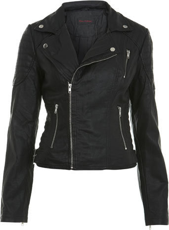 Black Stitch Detail Biker - Miss Selfridge