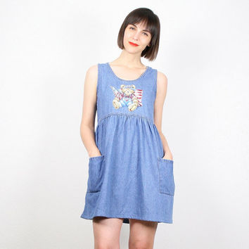 Vintage 90s Dress Mini Dress 1990s Dress Denim Dress Babydoll Dress Soft Grunge Dress Chambray Red White Blue American Flag USA Bear S Small