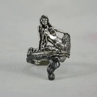 Enchanting Mermaid Ring in Sterling Silver by MysticSwan on Etsy