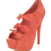 Honor Coral Triple Bow Heel - View All - New In - Miss Selfridge