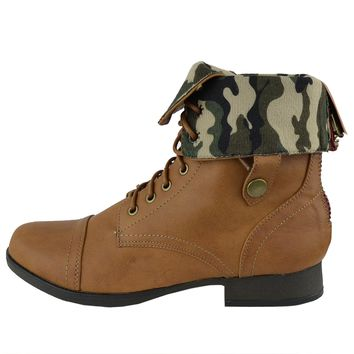 Womens Ankle Boots Camouflage Lining Lace Up Combat Shoes Cognac Size 5.5-10