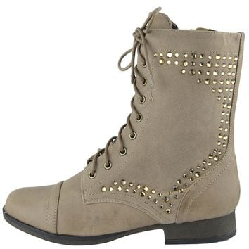 Womens Ankle Boots Rhinestone Studded Combat Lace Up Shoes Beige Size 5.5-10