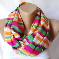 RAINBOW Infinity Scarf loop circle stripe handmade from by Periay