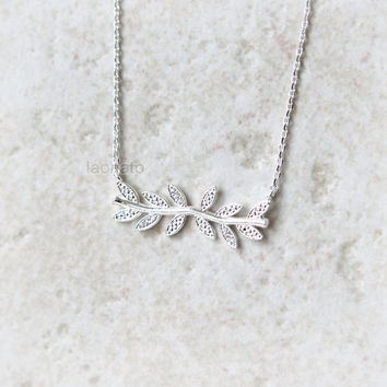 CZ Leaf Necklace / choose your color, gold and silver