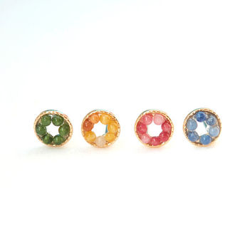 Tiny Donut Studs / choose your color / Green, Yellow, Coral and Blue 4 colors