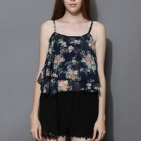 Flower Crochet Trimmed Crepe Shorts in Black