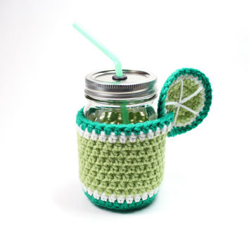Lime Mason Jar Mug, Crochet Cozy With Tumbler, Drinking Glass Set, Smoothie Jar, Party Pint Glass, Housewarming Gift Set