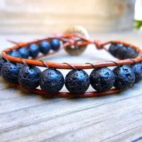 Mens Unisex Beaded Leather Single Wrap Bracelet with Black Lava Stone Beads on Saddle Brown Leather Stackable Bracelet