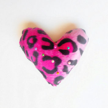 Hot Pink Leopard Print Heart Shaped Pin Cushion, ready to ship.