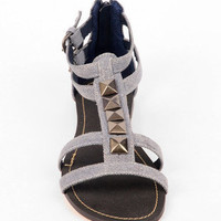 Crave Twill T-Strap Sandals in Blue :: tobi