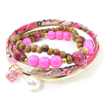 Hot Pink Bangle Bracelet Set - Pink Wood Brown Bead Pearl Gold Stacking Bracelets