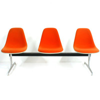 Free Shipping Orange Hopsack Fiberglass Eames Herman Miller La Fonda Shell Chair Tandem