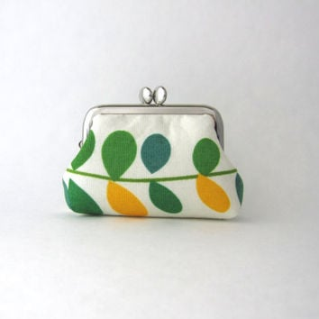 Coin Purse - Frame Mini Pouch Mini Jewelry Case with Ring Pillow - green leaves
