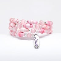 Pink Bracelet with Love Charm, paper bead jewelry, anniversary gift, I Love You gift