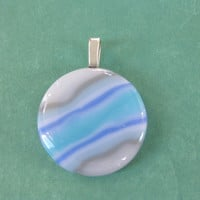 Round Blue Pendant, Striped Pendant, Striped Jewelry, Handmade Jewelry - Rori - 4580 -4