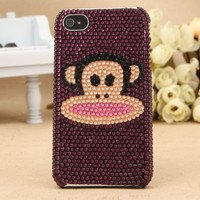 iPhone 4S 4G 3GS iPod Touch Paul Frank Purple Artificial Swarovski Case
