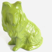 Green Painted Collie Dog Figurine Upcycled Home by ColorsMadeNew