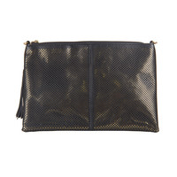 Diamond Cut Out Metallic Clutch - Black