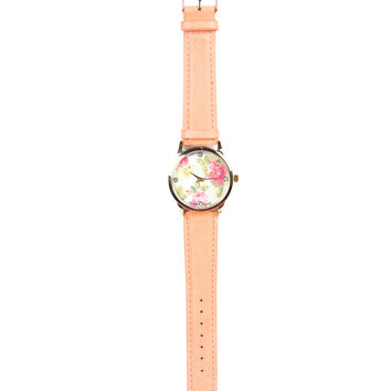 Floral Leather Watch - Peach