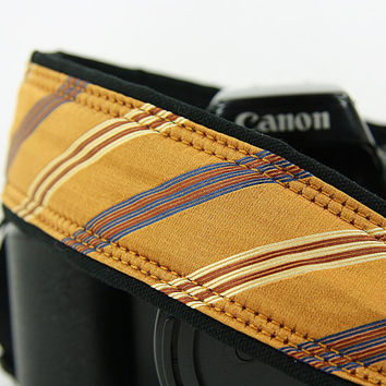 Silk Tie Camera Strap, Gold Silk, Stripe, Navy, Blue, Tan, 185
