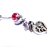Sexy Silver Heart Belly Button Ring, Pink and Silver Navel Ring,