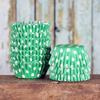 Mini Green Polka Dot Cupcake Liners, Green Candy Cups, Polka Dot Cake Pop Cups, Mini Green Dot Treat Cups (70 count)