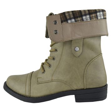 Women's Ankle Boots Fold Over Cuff Lace Up Combat Shoes Taupe Size 5.5-10