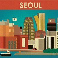 Seoul, South Korea - Asian + Pacific Skyline Poster Print - 100% Recycled and Signed by the Artist (Canvas Print also Available)