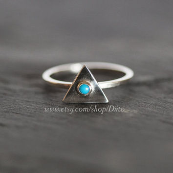 Size 7, Sterling Silver, Handmade Jewelry, Triangle Ring, Turquoise Stone Ring, Statement Ring, Geometric Ring, Ready To Ship!