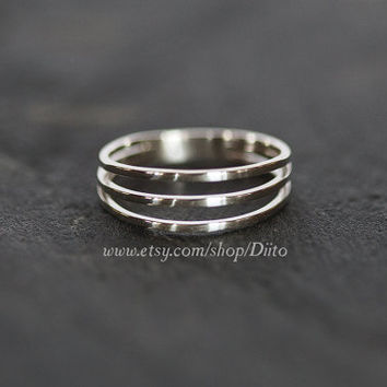 Size 6 , Sterling Silver, Handmade Jewelry, Three Ring Ring, Band, Stacking Ring, Statement Ring, Ready To Ship!