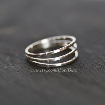 Size 7 , Sterling Silver, Handmade Jewelry, Three Ring Ring, Band, Stacking Ring, Statement Ring, Ready To Ship!